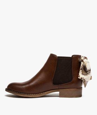 Boots femme style chelsea à talon plat et nœud foulard vue3 - GEMO (CASUAL) - GEMO