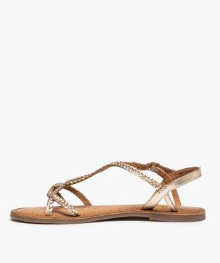 Sandales femme à talon plat et brides tressées en cuir vue3 - GEMO (CASUAL) - GEMO