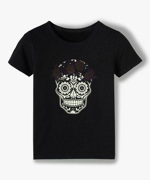 Tee-shirt fille motif calavera phosphorescent vue2 - GEMO (JUNIOR) - GEMO