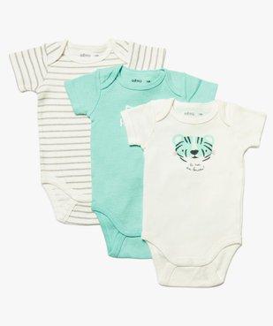 Body bébé garçon à manches courtes 100% coton biologique (lot de 3) vue1 - GEMO C4G BEBE - GEMO