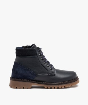 Boots garçon avec dessus cuir uni et semelle crantée vue1 - GEMO - GEMO