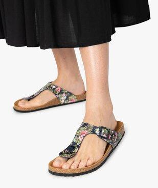 Sandales femme à entre-doigts imprimées de fleurs vue1 - GEMO (CASUAL) - GEMO
