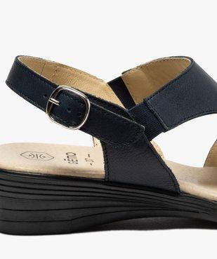 Sandales femme confort en cuir avec petit talon vue6 - GEMO (CONFORT) - GEMO