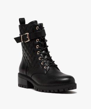 Boots femme unies à semelle crantée et tige matelassée vue2 - GEMO (CASUAL) - GEMO
