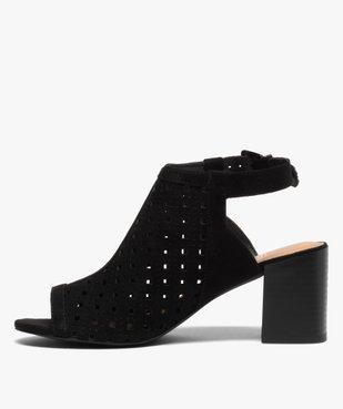 Sandales femme à talon carré dessus couvrant et ajouré vue3 - GEMO(URBAIN) - GEMO