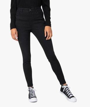 Jean femme skinny taille haute super stretch noir uni vue1 - GEMO(FEMME PAP) - GEMO