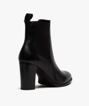 Boots femme à talon dessus style chelsea en cuir uni vue4 - GEMO(URBAIN) - GEMO