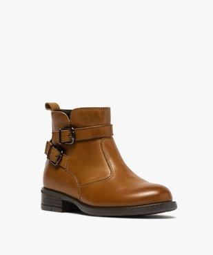 Boots fille unis dessus cuir à fermeture zippée vue2 - GEMO (ENFANT) - GEMO