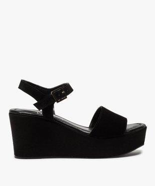 Sandales femmes unies en suédine à talon compensé vue1 - GEMO(URBAIN) - GEMO