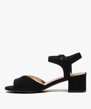 Sandales femme en suédine à petit talon carré vue3 - GEMO(URBAIN) - GEMO