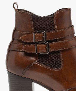 Boots femme à talon rainuré dessus en cuir uni vue6 - GEMO(URBAIN) - GEMO