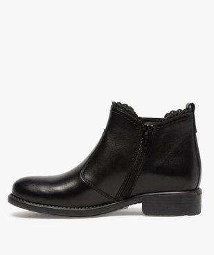 Boots fille style chelsea dessus cuir uni à bords dentelés vue3 - GEMO (ENFANT) - GEMO