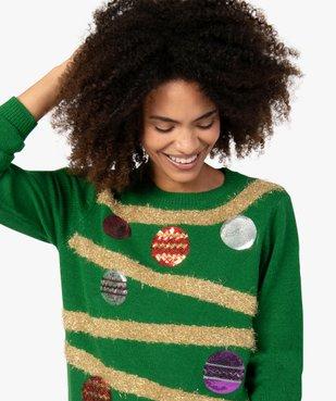Pull de Noël femme à motifs guirlandes et boules décoratives vue2 - GEMO(FEMME PAP) - GEMO