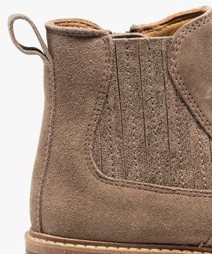 Boots fille zippées dessus cuir retourné style chelsea vue6 - GEMO (ENFANT) - GEMO