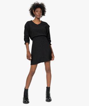 Robe femme à manches longues en maille texturée vue1 - GEMO(FEMME PAP) - GEMO