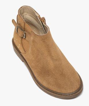 Boots fille style chelsea dessus cuir retourné motif étoiles vue5 - GEMO (ENFANT) - GEMO