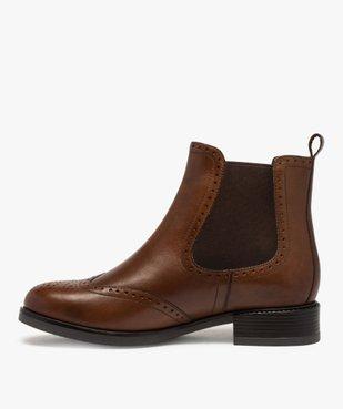Boots femme style chelsea unis à bout fleuri vue3 - GEMO (CASUAL) - GEMO