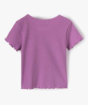 Tee-shirt fille court en nid d'abeille avec manches volantées vue3 - GEMO C4G FILLE - GEMO