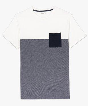 Tee-shirt homme à manches courtes bicolore uni/rayé vue4 - GEMO (HOMME) - GEMO