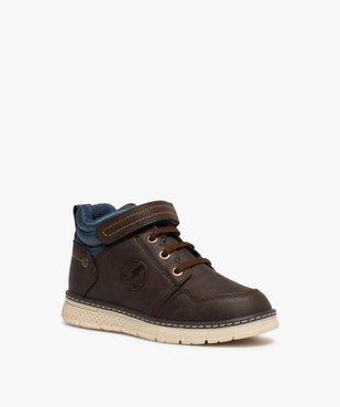 Boots garçon à col rembourré fermeture lacets et scratch vue2 - GEMO (ENFANT) - GEMO
