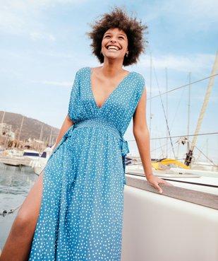 Robe de plage femme imprimée longue et échancrée  vue5 - GEMO (PLAGE) - GEMO