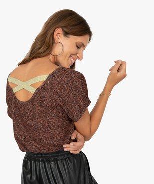 Tee-shirt femme à motifs pailletés et brides croisées dos vue2 - GEMO(FEMME PAP) - GEMO