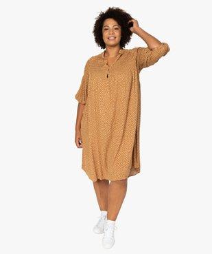 Robe femme imprimée à smocks et manches 3/4 vue1 - GEMO (G TAILLE) - GEMO