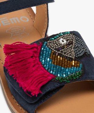 Sandales fille en cuir avec perroquet brodé vue6 - GEMO (ENFANT) - GEMO