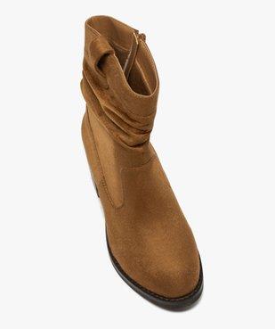 Boots femme à talon carré dessus en suédine unie vue5 - GEMO(URBAIN) - GEMO