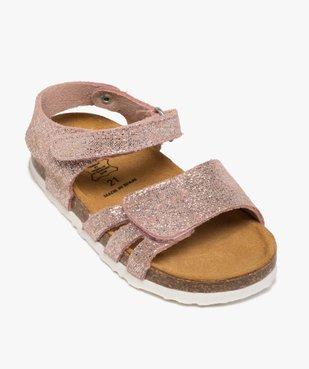 Sandales bébé fille à scratch et brides en cuir métallisées vue5 - GEMO(BEBE DEBT) - GEMO
