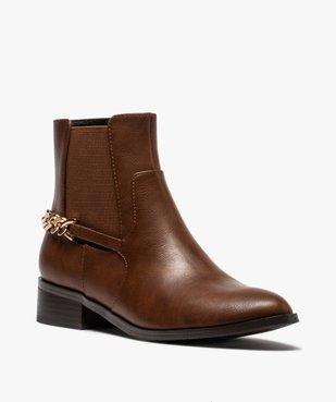 Boots femme unies à talon plat avec chaîne sur l'arrière vue2 - GEMO (CASUAL) - GEMO