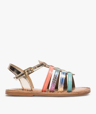 Sandales filles avec brides en cuir multicolores vue1 - GEMO (ENFANT) - GEMO