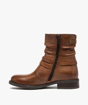 Boots fille unies dessus cuir drapé et brides fantaisie vue3 - GEMO (ENFANT) - GEMO
