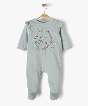 Pyjama bébé fille en velours avec volants sur les épaules vue1 - GEMO(BB COUCHE) - GEMO