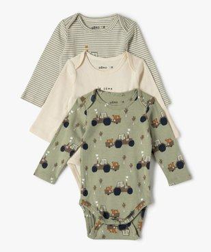 Body bébé manches longues motifs jardinage (lot de 3) vue1 - GEMO C4G BEBE - GEMO