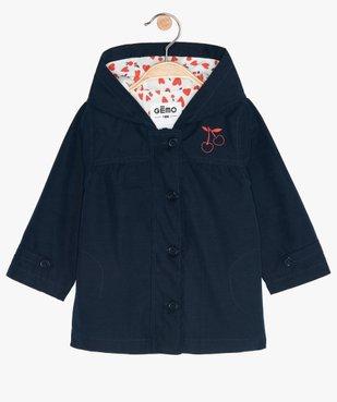 Manteau bébé fille zippé, fin, à capuche et doublure imprimée vue1 - GEMO(BEBE DEBT) - GEMO