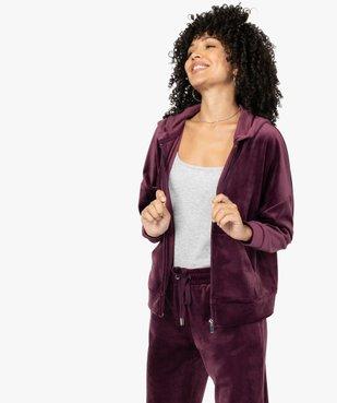 Sweat femme zippé à capuche en velours vue1 - GEMO(FEMME PAP) - GEMO