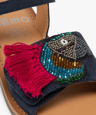 Sandales fille en cuir avec perroquet brodé en perles vue6 - GEMO (ENFANT) - GEMO