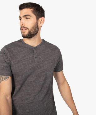 Tee-shirt homme chiné à manches courtes et col tunisien  Matière chinée vue2 - GEMO C4G HOMME - GEMO