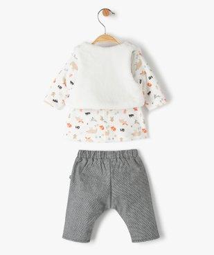 Ensemble bébé fille 3 pièces : tee-shirt + gilet + pantalon - Sucre d'Orge vue4 - SUCRE D'ORGE - Nikesneakers