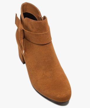 Boots femme à talon en suédine unie et bride décorative vue5 - Nikesneakers(URBAIN) - Nikesneakers