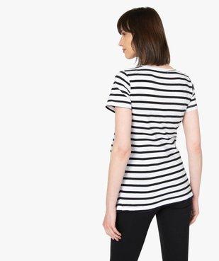 Tee-shirt de grossesse à rayures et inscription vue3 - GEMO (MATER) - GEMO