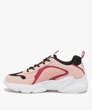 Baskets femme à semelle épaisse look dad shoes - FILA avec détail argenté au talon vue3 - FILA - GEMO