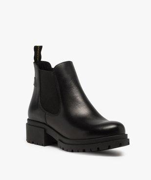 Boots femme style chelsea unis à talon carré et semelle crantée  vue2 - GEMO (CASUAL) - GEMO