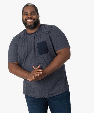 Tee-shirt homme à rayures et poche poitrine vue1 - GEMO (G TAILLE) - GEMO