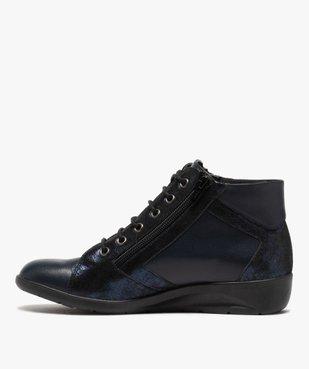 Boots femme confort zippées à talon compensé dessus cuir vue3 - GEMO (CONFORT) - GEMO