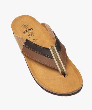 Sandales homme à bride entre-doigts en toile et cuir vue5 - GEMO (CASUAL) - GEMO