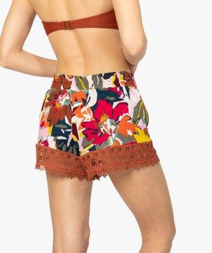 Short femme spécial plage avec broderies avec motif fleurs vue3 - GEMO (PLAGE) - GEMO