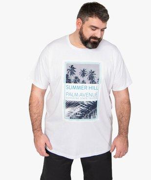 Tee-shirt homme à manches courtes avec motifs palmiers vue1 - GEMO (HOMME) - GEMO