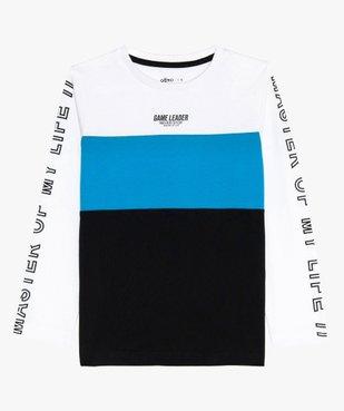 Tee-shirt garçon tricolore à manches longues vue2 - GEMO (ENFANT) - GEMO